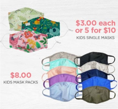 $3 Each or 5 for $10 Kids Single Masks and $8 Kids Mask Packs from The Paper Store