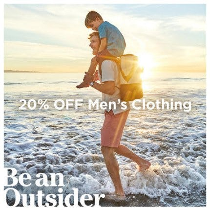 Get 20% Off Men's Clothing, Footwear and Outerwear
