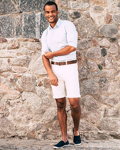 7802c7dcbd8 Young man wearing white shorts with a button down tucked in and dress shoes