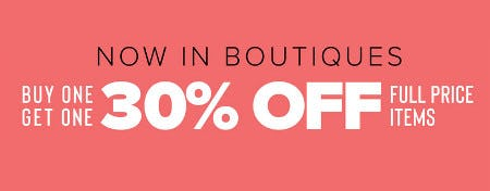 Buy One, Get One 30% Off Full Price Items from francesca's