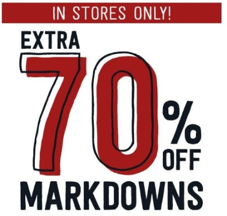 Extra 70% Off Markdowns from Crazy 8