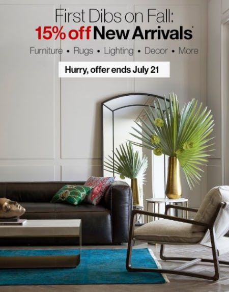 15% Off New Arrivals from Crate & Barrel