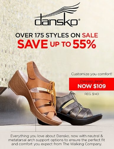 Save up to 55% on 175+ New Dansko Markdowns from THE WALKING COMPANY