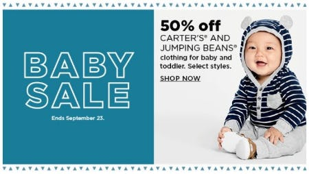 50% Off Carter's and Jumping Beans Clothing for Baby and Toddler
