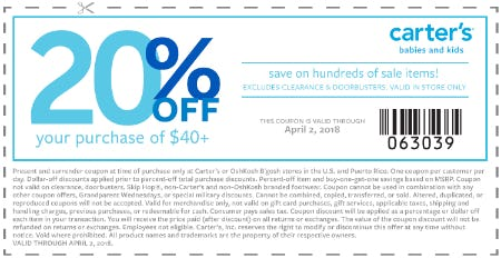 20% Off Your In-Store Purchase of $40+ from Carter's