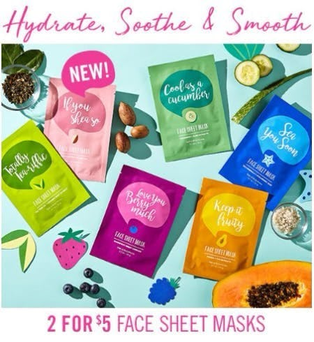 2 for $5 Face Sheet Masks