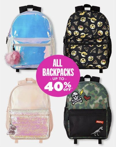 All Backpacks up to 40% Off from The Children's Place