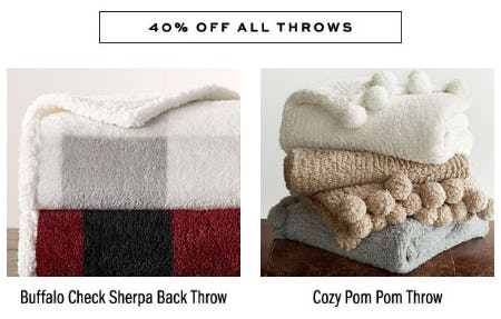 40% Off All Throws