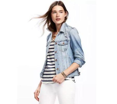 Distressed Denim Jacket for Women