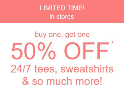 BOGO 50% Off Tees, Sweatshirts & More from maurices