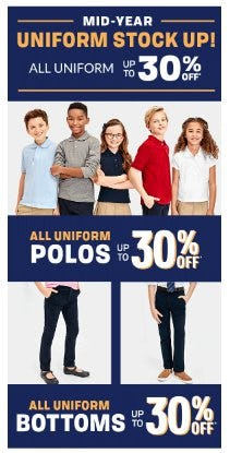All Uniform up to 30% Off from Children's Place