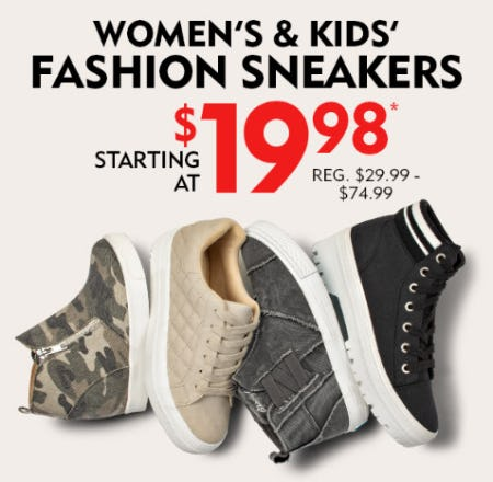 Women's & Kids' Fashion Sneakers Starting at $19.98 from Shoe Carnival