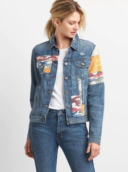 Icon Denim Jacket with Mix-Camo Print Patchwork