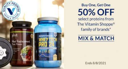 BOGO 50% Off Select Proteins from The Vitamin Shoppe