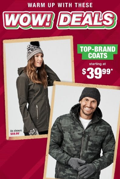 Top-Brand Coats Starting at $39.99
