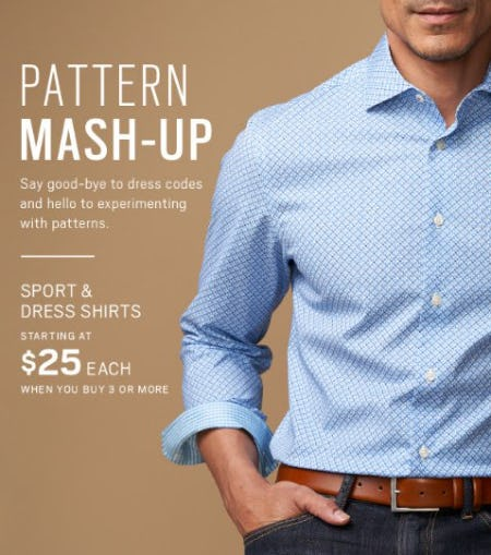 Sport and Dress Shirts Starting at $25 Each When you Buy 3 or More from Men's Wearhouse