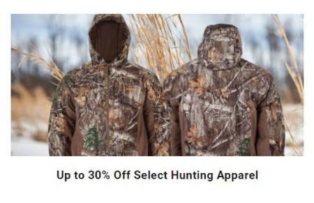 Up to 30% Off Select Hunting Apparel