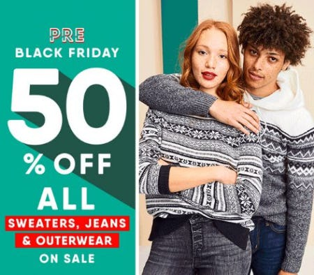 50% Off All Sweaters, Jeans & Outerwear from Old Navy