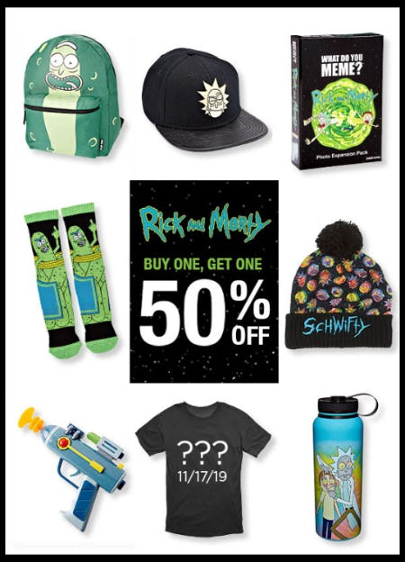 BOGO 50% Off Rick and Morty from Spencer Gifts