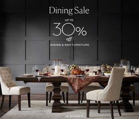 Up to 30% Off Dining Sale from Pottery Barn