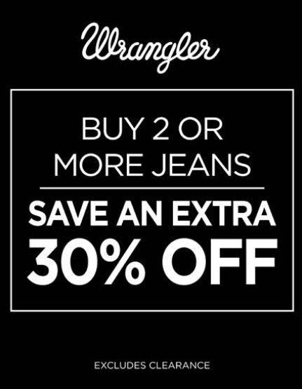 Buy 2 or More Jeans, Save an Extra 30% Off from Wrangler
