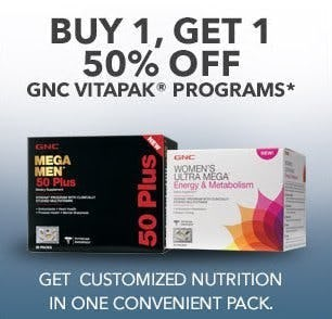 Buy 1, Get 1 50% Off GNC Vitapak Programs