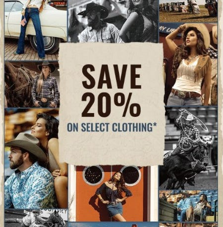 20% Off Select Clothing from Boot Barn