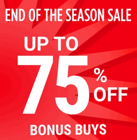 Up to 75% Off End of the Season Sale from Belk