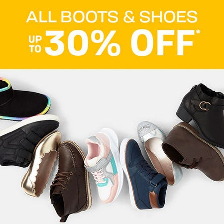All Boots & Shoes Up to 30% Off from The Children's Place