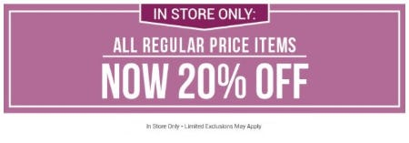 20% Off All Regular Price Items from Bon Worth