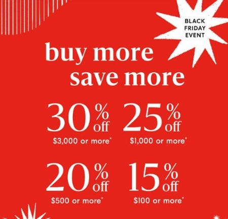 Black Friday Event: Buy More Save More from West Elm
