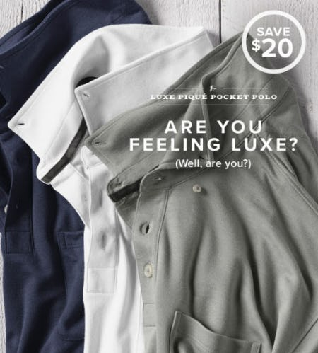 $20 Off Luxe Piqué Pocket Polo from Orvis