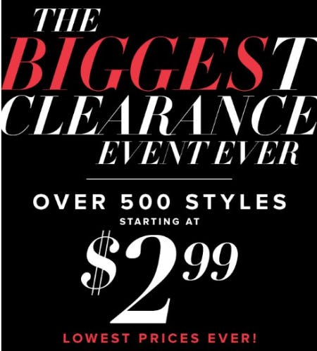The Biggest Clearance Event Ever Starting at $2.99 from New York & Company