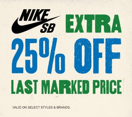 Nike SB Sale: Extra 25% Off Last Marked Price from Zumiez