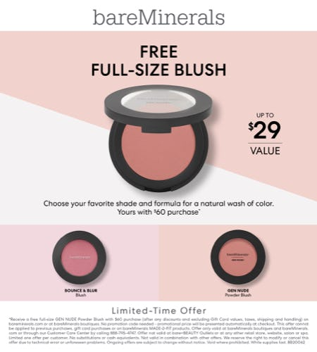 Receive a Full-Size Blush of Choice w/ a $60 Purchase!! from bareMinerals