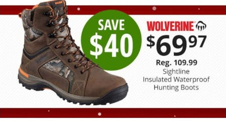$40 Off WolverineSightline Insulated Waterproof Hunting Boots from Cabela's
