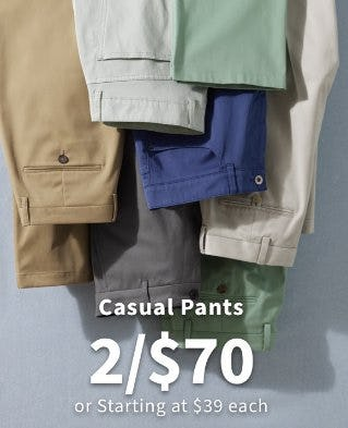 Casual Pants 2 for $70 or Starting at $39 Each from Jos. A. Bank