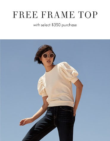 Free Frame Top with Select $350 Purchase