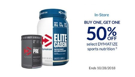 BOGO 50% Off Select DYMATIZE Sports Nutrition from The Vitamin Shoppe
