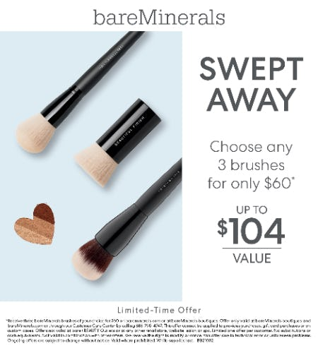 Choice of 3 Full-Size Brushes for $60 from bareMinerals