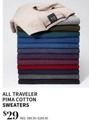 All Traveler PIMA Cotton Sweaters $29 from Jos. A. Bank