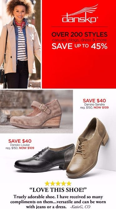 Save up to 45% on Over 200 Dansko Styles