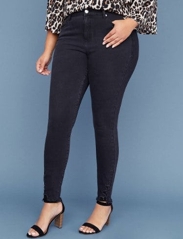 Ultimate Stretch High Rise Skinny Jean - Black With Destructed Hem from Lane Bryant