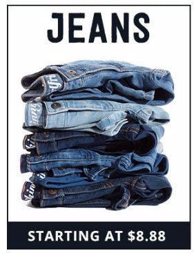 Jeans Starting at $8.88