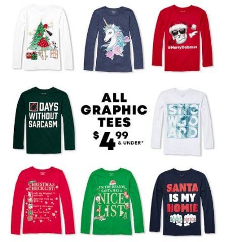 All Graphic Tees $4.99 & Under from The Children's Place