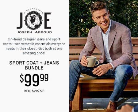 JOE Joseph Abboud Sport Coat + Jeans Bundle $99.99