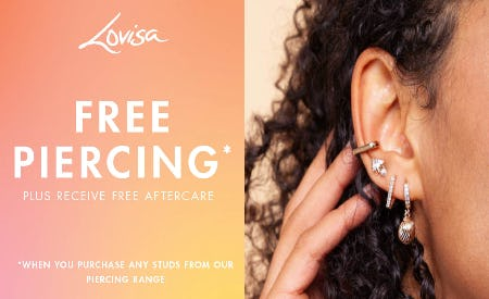 Free Piercing at Lovisa! from Lovisa