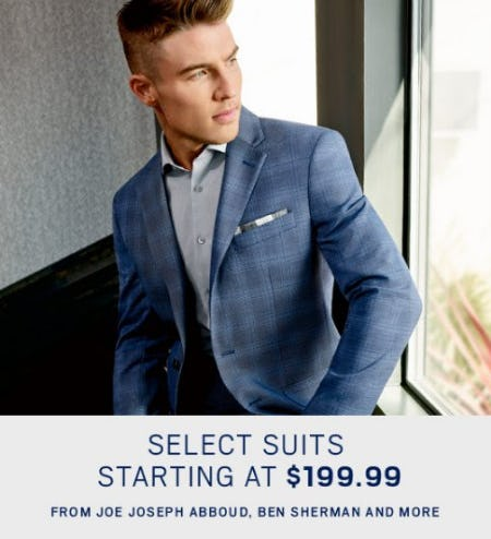 Select Suits Starting at $199.99 from Men's Wearhouse