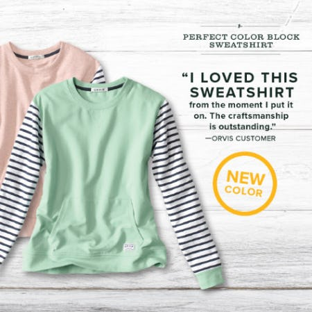 The Perfect Color Block Sweatshirt from Orvis
