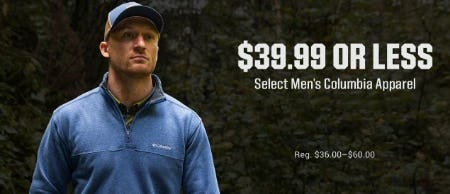 $39.99 or Less Select Men's Columbia Apparel